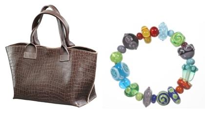 (L-R) Daniella Lehavi brown basket handbag and a Primavera's glass bead bracelet